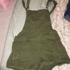 Olive denim  short overalls